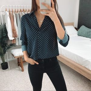 H&M - Navy Patterned Button Up Shirt
